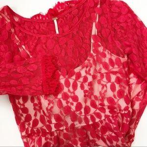 FP Red Lace Leaf Dress